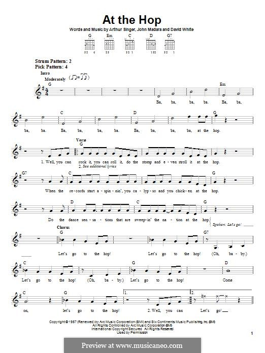 At the Hop (Danny & The Juniors): For guitar with tab by Arthur Singer, David White, John Medora