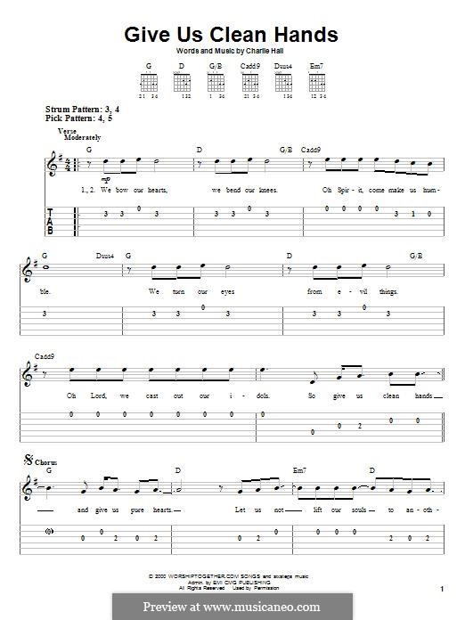 Give Us Clean Hands: For guitar with tab by Charlie Hall