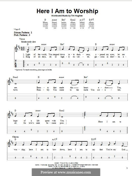 Here I am to Worship (Phillips, Craig & Dean): For guitar with tab by Tim Hughes