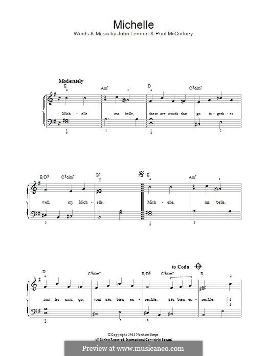 Michelle (The Beatles): For piano by John Lennon, Paul McCartney