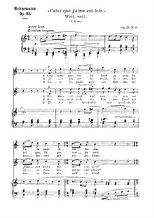 No.20 Weit, weit (Celui que j'aime est loin): Piano-vocal score (German and french texts) by Robert Schumann