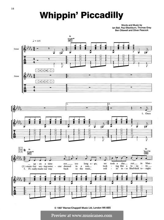 Whippin' Piccadilly (Gomez): For guitar by Thomas J. Gray, Benjamin Ottewell, Ian Ball, Oliver Peacock, Paul Blackburn