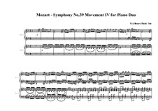 Symphony No.39 in E Flat Major, K.543: Movement IV, for duo piano by Wolfgang Amadeus Mozart