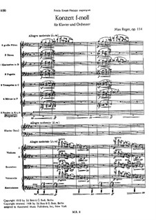 Concerto for Piano and Orchestra in F Minor, Op.114: Full score by Max Reger