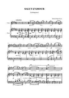 Salut d'amour (Love's Greeting), Op.12: For violin and piano by Edward Elgar