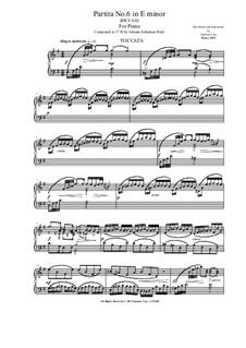 Partita for Keyboard No.6 in E Minor, BWV 830: Version for piano by Johann Sebastian Bach