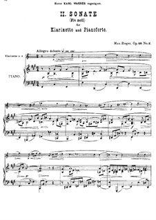 Two Sonatas for Clarinet (or Viola) and Piano, Op.49: Sonata No.2 in F Sharp Minor by Max Reger