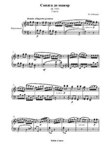 Sonata for Piano No.16 in C Major, K.545: Movement III by Wolfgang Amadeus Mozart