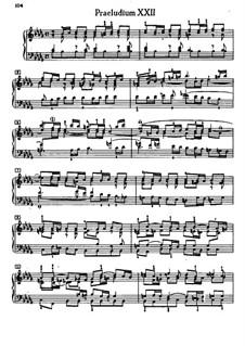 Prelude and Fugue No.22 in B Flat Minor, BWV 867: For piano by Johann Sebastian Bach
