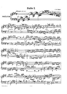 Suite No.1 in A Major, BWV 806: For piano by Johann Sebastian Bach