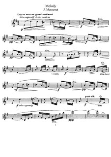 Dix pièces de genre, Op.10: No.5 Mélodie (Élégie), for violin and piano – solo part by Jules Massenet
