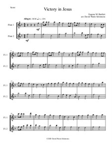 6 simple duets based on hymns: Victory in Jesus, for 2 flutes by folklore, Charles Hutchinson Gabriel, Phoebe Palmer Knapp, John Bacchus Dykes, Eugene Bartlett