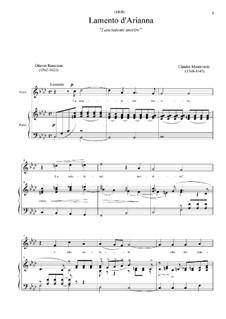 L'Arianna (Ariadne): Lasciatemi morire, for soprano and piano by Claudio Monteverdi