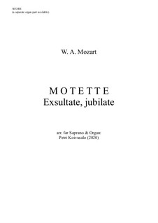 Exsultate, jubilate, K.165: For soprano and organ - score by Wolfgang Amadeus Mozart