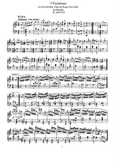 Nine Variations on 'Lison Dormait' by N. Dezède, K.264: For piano by Wolfgang Amadeus Mozart