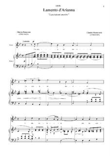 L'Arianna (Ariadne): Lasciatemi morire by Claudio Monteverdi