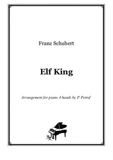 Erlkönig (Forest King), D.328 Op.1: For piano four hands - score and parts by Franz Schubert
