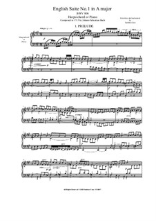 Suite No.1 in A Major, BWV 806: For harpsichord (or piano) by Johann Sebastian Bach