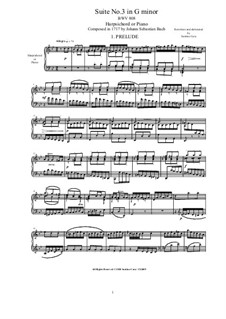 Suite No.3 in G Minor, BWV 808: For harpsichord (or piano) by Johann Sebastian Bach