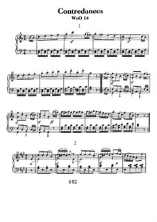 Twelve Contredanses for Orchestra, WoO 14: Contredanses No.1-7, for piano by Ludwig van Beethoven