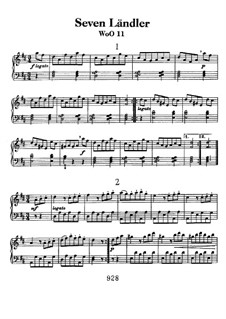 Seven Ländler, WoO 11: For piano by Ludwig van Beethoven