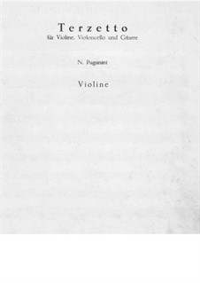 Terzetto for Violin, Cello and Guitar: Violin part by Niccolò Paganini