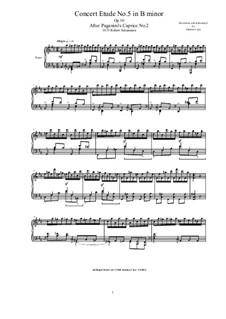 Six Concert Etudes after Caprices Paganini, Op.10: Etude No.5 by Robert Schumann