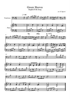 Greensleeves: For trombone and piano by folklore