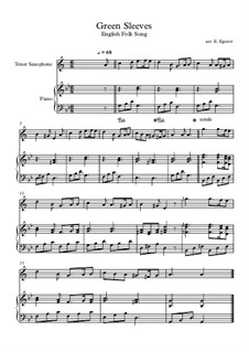 Greensleeves: For tenor saxophone and piano by folklore