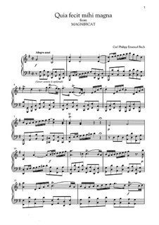 Magnificat in D Major for Soloists, Choir and Orchestra, H 772 Wq 215: Quia fecit mihi magna by Carl Philipp Emanuel Bach