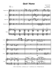 Movement II (Largo): For saxophone quartet and piano by Antonín Dvořák