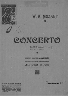 Concerto for Violin and Orchestra No.6 in E Flat Major, K.268: Arrangement for violin and piano – solo part by Wolfgang Amadeus Mozart