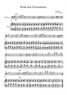 10 Easy Classical Pieces for Trombone & Piano: Pomp and Circumstance by Franz Schubert, Johann Strauss (Sohn), Edward Elgar, Jacques Offenbach, Ludwig van Beethoven, Edvard Grieg, Julius Benedict, Mildred Hill, Eduardo di Capua