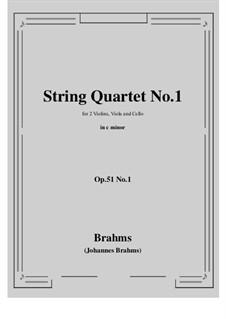 String Quartet No.1 in C Minor, Op.51: Full score, parts by Johannes Brahms