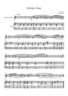 10 Easy Classical Pieces for Tenor Saxophone & Piano: Solveig's Song by Franz Schubert, Johann Strauss (Sohn), Edward Elgar, Jacques Offenbach, Ludwig van Beethoven, Edvard Grieg, Julius Benedict, Mildred Hill, Eduardo di Capua