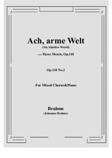 Three Motets, Op.110: Nr.2 Ach, arme Welt, du trügst mich by Johannes Brahms