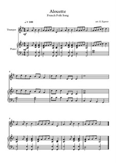 Alouette: For trumpet and piano by folklore