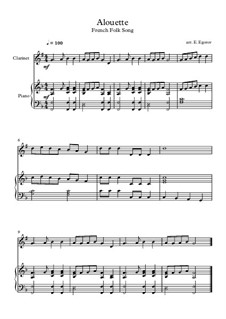 Alouette: For clarinet and piano by folklore