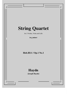 String Quartet No.1 in B Flat Major, Hob.III/1 Op.1 No.1: Full score, parts by Joseph Haydn