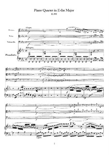 Quartet for Piano and Strings No.2 in E Flat Major, K.493: Full score by Wolfgang Amadeus Mozart