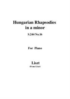 No.16 in A Minor, S.244: For piano by Franz Liszt