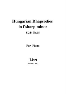 No.18 in F Sharp Minor, S.244: For piano by Franz Liszt