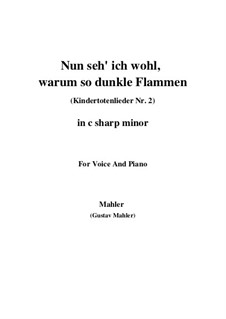 Kindertotenlieder (Songs on the Death of Children): No.2 Now I See Well, Why with Such Dark Flames (c sharp minor) by Gustav Mahler