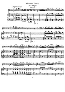 Six German Dances, K.509: For violin (or flute) and piano by Wolfgang Amadeus Mozart