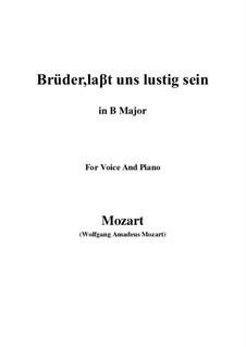 Zaide, K.344: Brüder, laβt uns lustig sein (B Major) by Wolfgang Amadeus Mozart