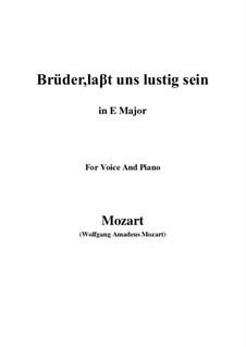 Zaide, K.344: Brüder, laβt uns lustig sein (E Major) by Wolfgang Amadeus Mozart
