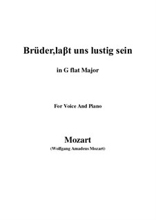 Zaide, K.344: Brüder, laβt uns lustig sein (G flat Major) by Wolfgang Amadeus Mozart