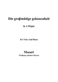 Die grossmütige Gelassenheit, K.149: A Major by Wolfgang Amadeus Mozart