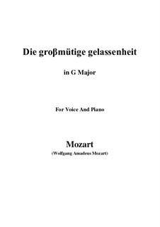 Die grossmütige Gelassenheit, K.149: G Major by Wolfgang Amadeus Mozart