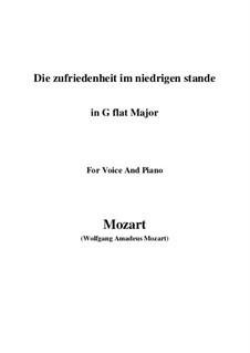Die Zufriedenheit im niedrigen Stande, K.151: G flat Major by Wolfgang Amadeus Mozart